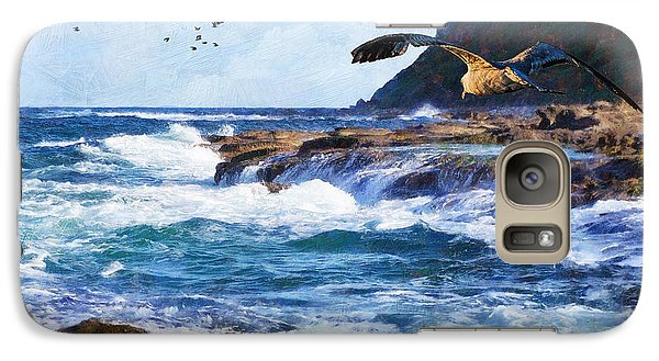 Galaxy Case featuring the painting Oh The Wind And The Waves by Lianne Schneider