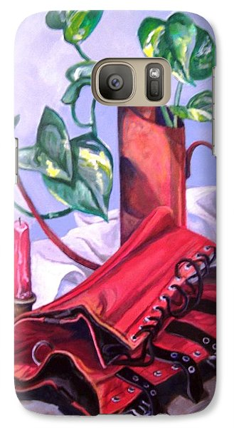 Galaxy Case featuring the painting Oil Can And Corset by Laura Aceto