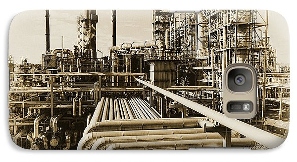 Galaxy Case featuring the photograph Oil Refinery In Old Vintage Processing Concept by Christian Lagereek