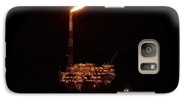 Galaxy Case featuring the photograph Oil Rig At Night by Bradford Martin