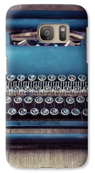 Galaxy Case featuring the photograph Old Blue Typewriter by Edward Fielding