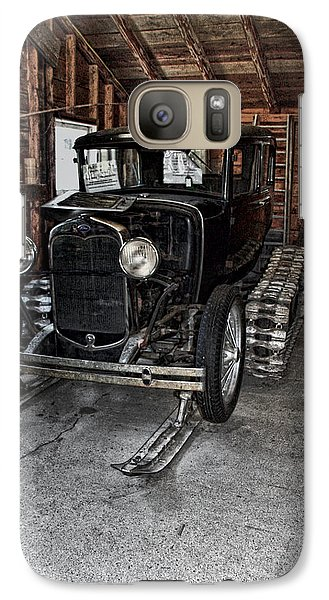 Galaxy Case featuring the photograph Old Car Snow Ski by Joanne Coyle