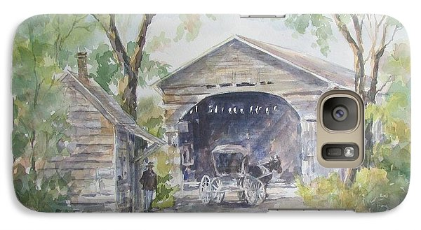 Galaxy Case featuring the painting Old Cover Bridge At Pee Dee River by Gloria Turner
