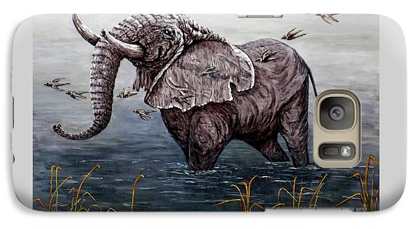 Galaxy Case featuring the painting Old Elephant by Judy Kirouac