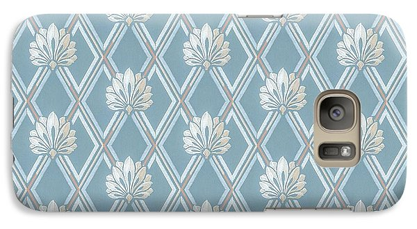 Galaxy Case featuring the digital art Old Fashioned Blue Lattice Fan Wallpaper Pattern by Tracie Kaska