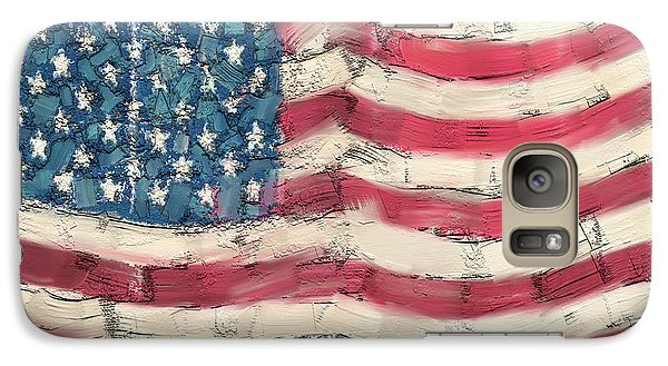 Galaxy Case featuring the painting Old Glory by Carrie Joy Byrnes