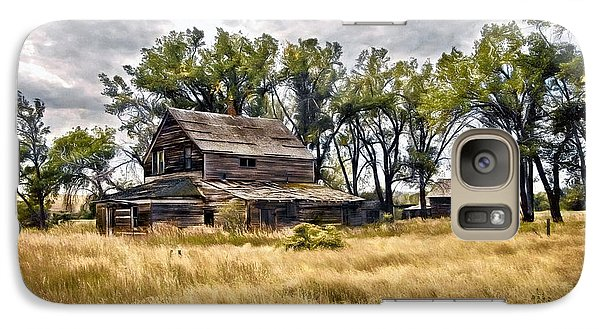 Galaxy Case featuring the digital art Old House And Barn by James Steele