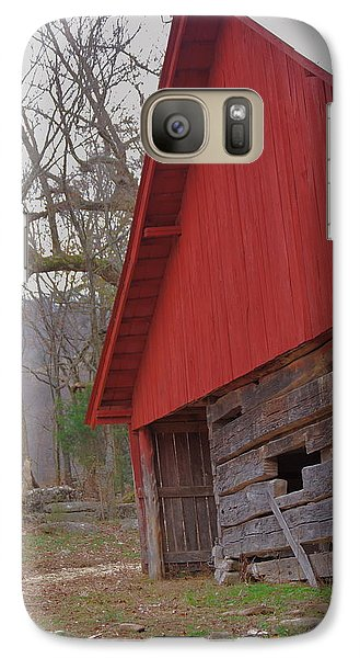 Galaxy Case featuring the photograph Old Log Barn by Debbie Karnes