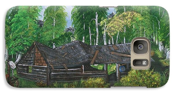 Galaxy Case featuring the painting Old Log Cabin And   Memories by Sharon Duguay