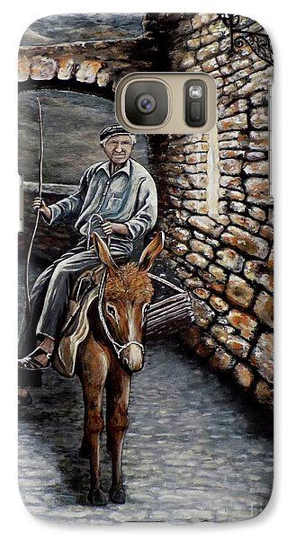 Galaxy Case featuring the painting Old Man On A Donkey by Judy Kirouac