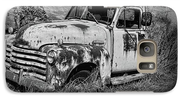Galaxy Case featuring the photograph Old Rusty Chevy In Black And White by Paul Ward