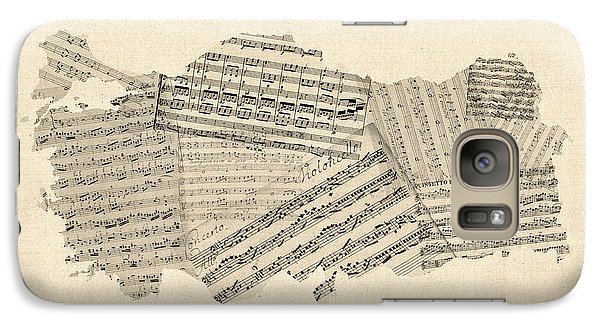 Turkey Galaxy S7 Case - Old Sheet Music Map Of Turkey Map by Michael Tompsett