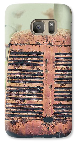 Galaxy Case featuring the photograph Old Tractor Vintage Look by Edward Fielding