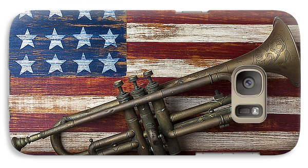 Trumpet Galaxy S7 Case - Old Trumpet On American Flag by Garry Gay
