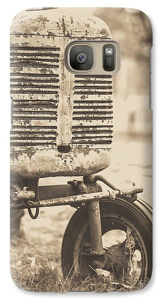Galaxy Case featuring the photograph Old Vintage Tractor Brown Toned by Edward Fielding