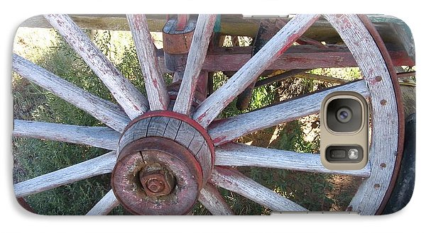 Galaxy Case featuring the photograph Old Wagon Wheel by Dora Sofia Caputo Photographic Art and Design