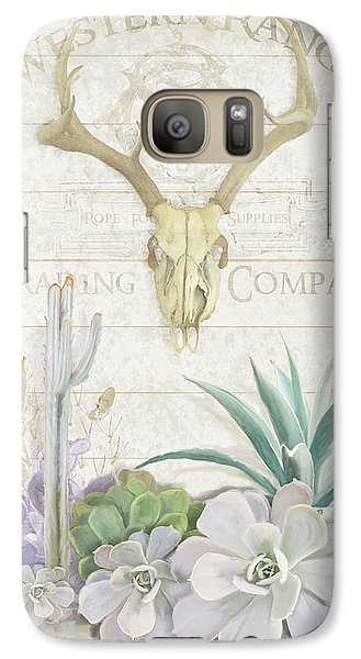 Galaxy Case featuring the painting Old West Cactus Garden W Deer Skull N Succulents Over Wood by Audrey Jeanne Roberts