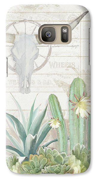 Galaxy Case featuring the painting Old West Cactus Garden W Longhorn Cow Skull N Succulents Over Wood by Audrey Jeanne Roberts