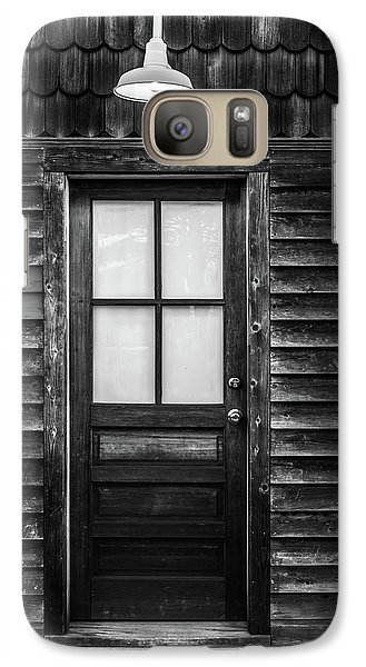 Galaxy Case featuring the photograph Old Wood Door And Light Black And White by Terry DeLuco