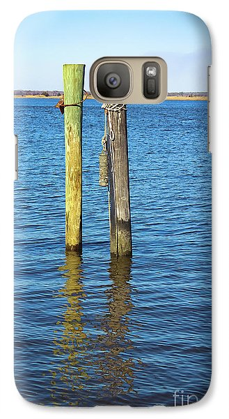 Galaxy Case featuring the photograph Old Wood Pilings In Blue Water by Colleen Kammerer