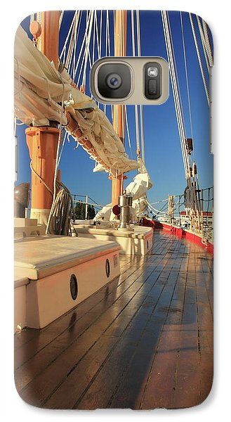 Galaxy Case featuring the photograph On Deck Of The Schooner Eastwind by Roupen  Baker