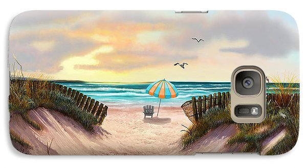 Galaxy Case featuring the painting On The Beach by Sena Wilson