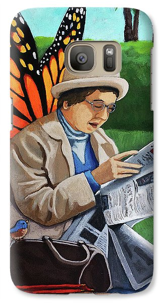 Galaxy Case featuring the painting On Vacation -butterfly Angel Painting by Linda Apple