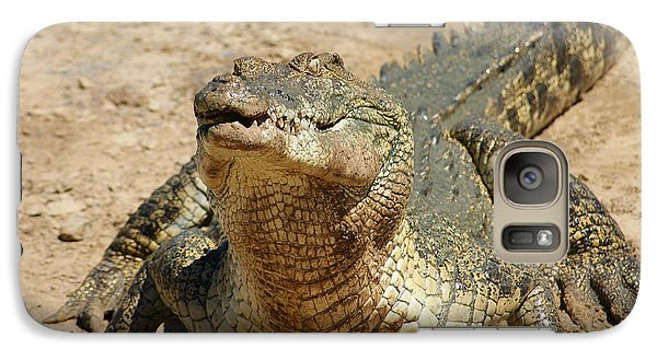 Galaxy Case featuring the photograph One Crazy Saltwater Crocodile by Gary Crockett