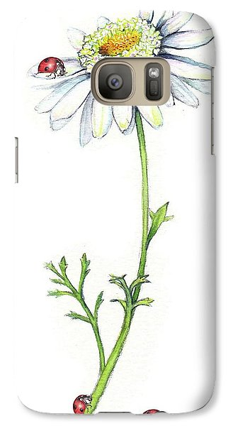 Galaxy Case featuring the painting One Daisy And Four Ladybugs by Heidi Kriel