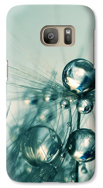 Galaxy Case featuring the photograph One Seed With Blue Drops by Sharon Johnstone