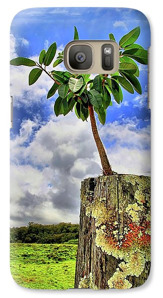 Galaxy Case featuring the photograph One Tree One Post by DJ Florek