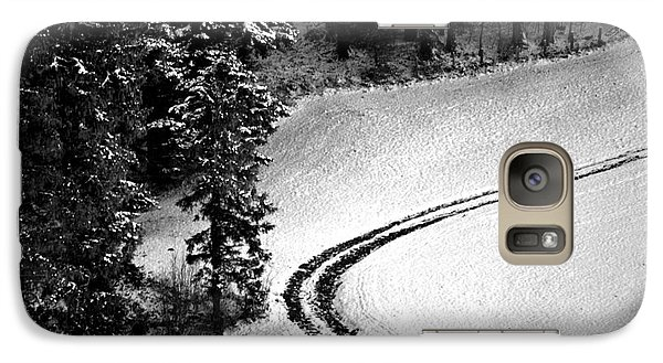 Galaxy Case featuring the photograph One Way - Winter In Switzerland by Susanne Van Hulst