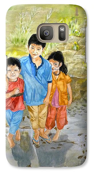 Galaxy Case featuring the painting Onion Farm Children Bali Indonesia by Melly Terpening