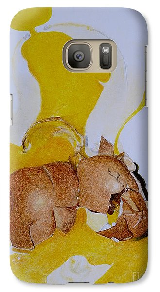 Galaxy Case featuring the pastel Oops Broken Egg by Sheron Petrie