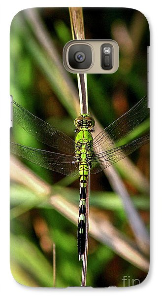Galaxy Case featuring the photograph Openminded Green Dragonfly Art by Reid Callaway