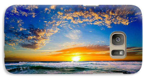 Galaxy Case featuring the photograph Orange And Blue Sunset Sun Setting Over The Ocean by Eszra Tanner