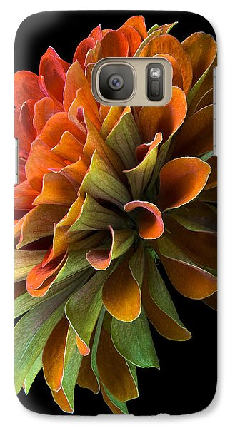 Galaxy Case featuring the photograph Orange And Green Zinnia  by Jim Hughes