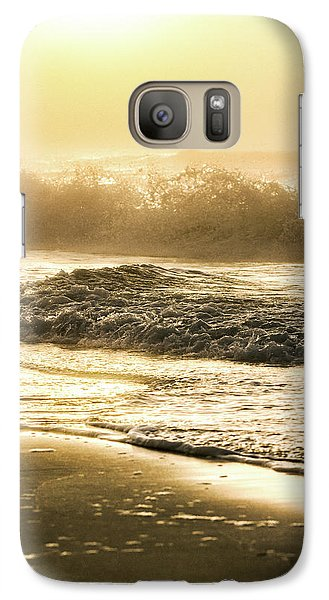 Galaxy Case featuring the photograph Orange Beach Sunrise With Wave by John McGraw