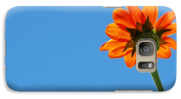 Galaxy Case featuring the photograph Orange Flower On Blue Sky by Debbie Karnes