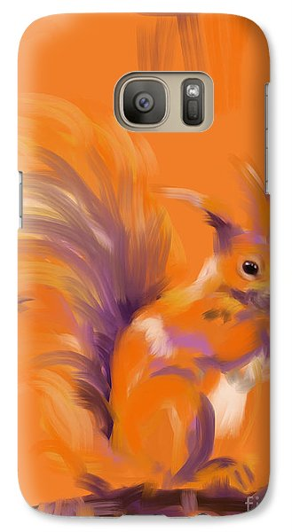 Galaxy Case featuring the painting Orange Forest Squirrel by Go Van Kampen