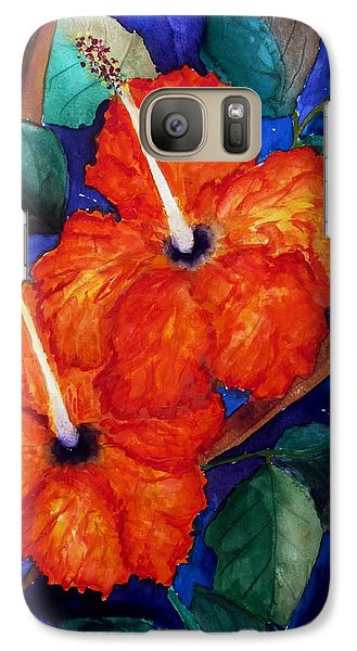 Galaxy Case featuring the painting Orange Hibiscus by Lil Taylor