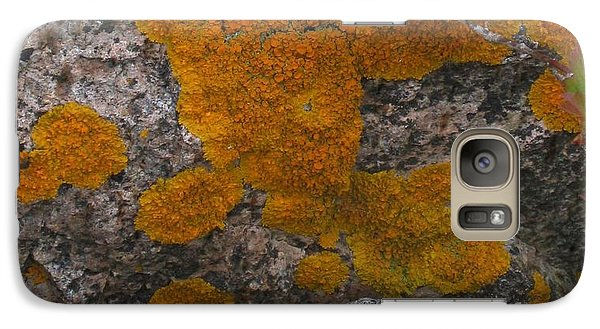 Galaxy Case featuring the photograph Orange Lichen On Granite by Mary Bedy