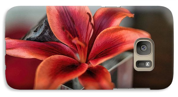 Galaxy Case featuring the photograph Orange Lilly And Her Companion Abstract by Diana Mary Sharpton
