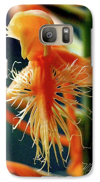 Galaxy Case featuring the photograph Fringed Orange Orchid by Meta Gatschenberger