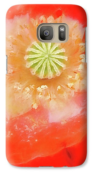 Galaxy Case featuring the photograph Orange Oriental Poppy Painterly by Carol Leigh