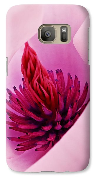 Galaxy Case featuring the photograph Abstract Pink Red White Flowers Macro Photography Art Work by Artecco Fine Art Photography