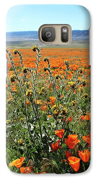 Galaxy Case featuring the mixed media Orange Poppies And Fiddleneck- Art By Linda Woods by Linda Woods