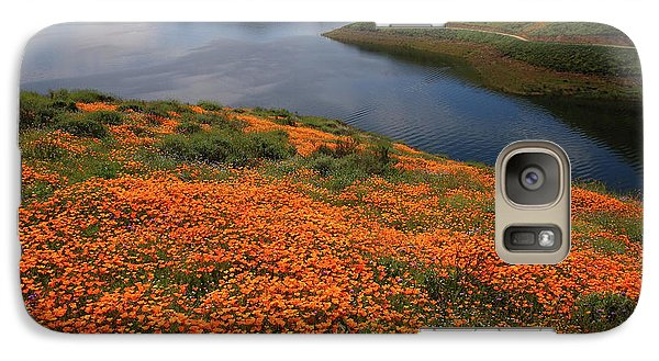 Galaxy Case featuring the photograph Orange Poppy Fields At Diamond Lake In California by Jetson Nguyen