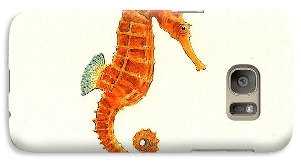 Orange Seahorse Galaxy S7 Case by Juan Bosco
