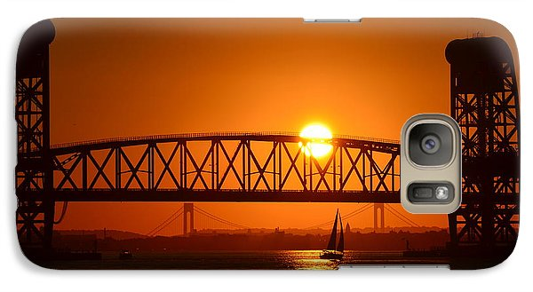 Galaxy Case featuring the photograph Orange Sunset Brooklyn Bridges Sailboat by Maureen E Ritter